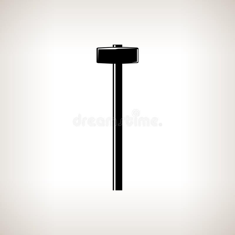 Schattenbildvorschlaghammer auf einem hellen Hintergrund stock abbildung