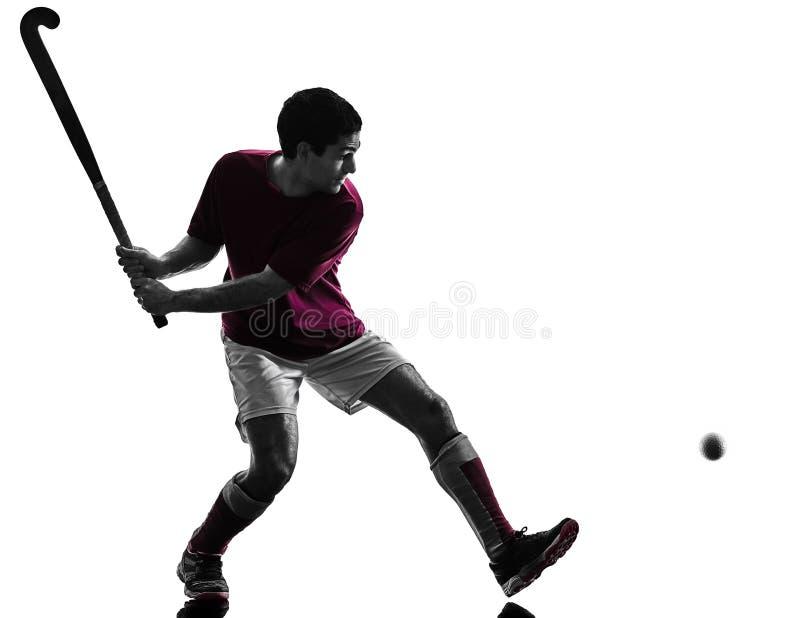 Schattenbildweißhintergrund des Hockeyspielers Mann lokalisierter lizenzfreies stockfoto