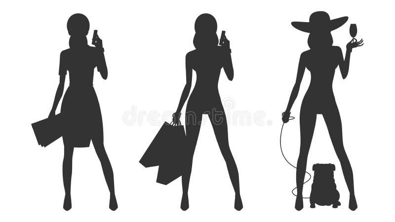 Schattenbildzauber-Geschäftsfraueinkaufen lizenzfreie abbildung