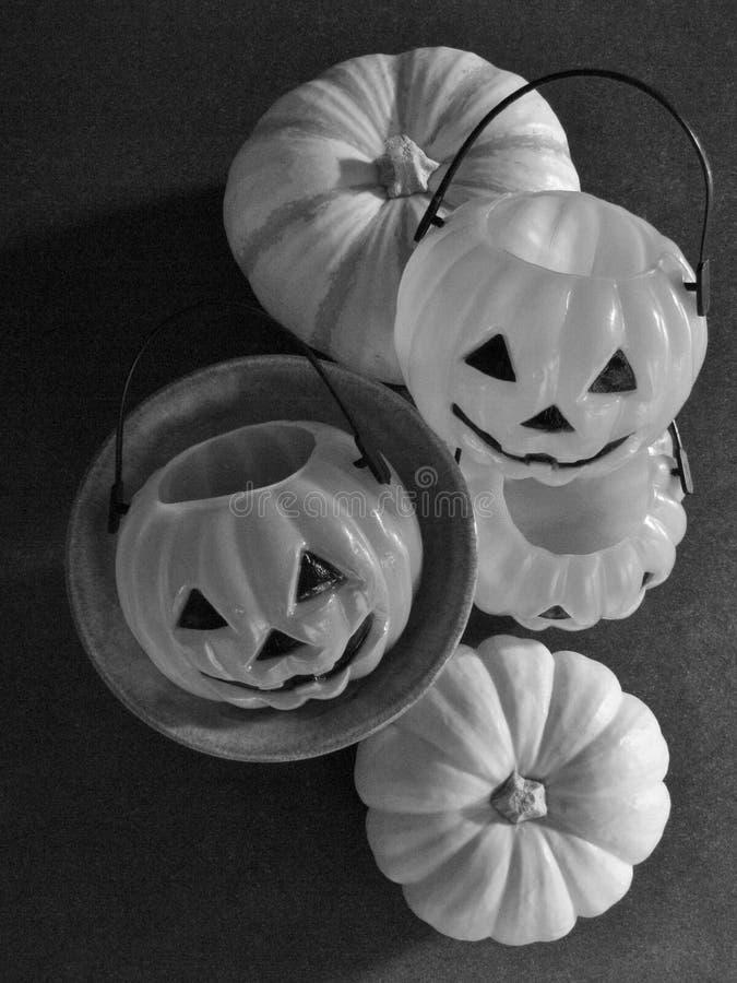 Schattenhafte Nahaufnahme von Halloween-Kürbisdekorationen und von Herbstkürbissen mit Kopienraum lizenzfreie stockfotografie