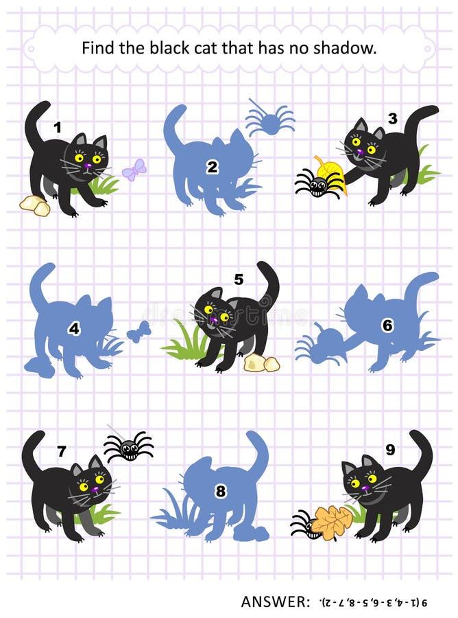 Schattenspiel mit schwarzer Katze lizenzfreie abbildung