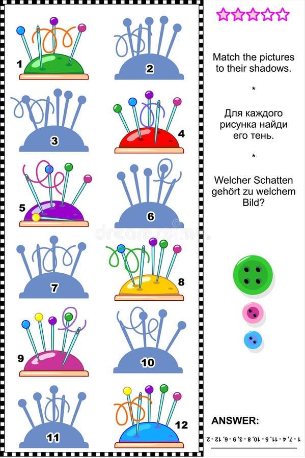 Schattenspiel - Stifte vom Nadelkissen stock abbildung