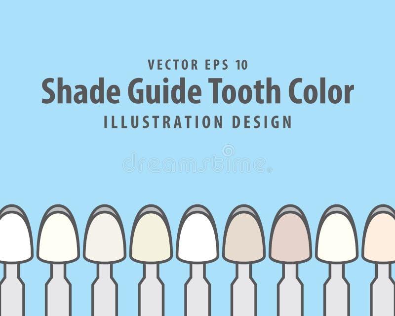 Schattieren Sie Führer-Zahn-Farbillustrationsvektor auf blauem Hintergrund vektor abbildung