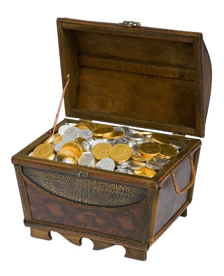 Schatz-Kasten der Schokoladen-Münzen lizenzfreie stockfotos
