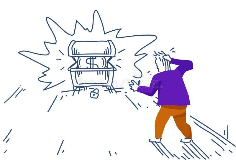 Schatzdollarmünzenkonzeptwachstumsreichtums-Ideenmann des Geschäftsmannes färbte denkender Kasten begrabener Schattenbildskizzeng lizenzfreie abbildung