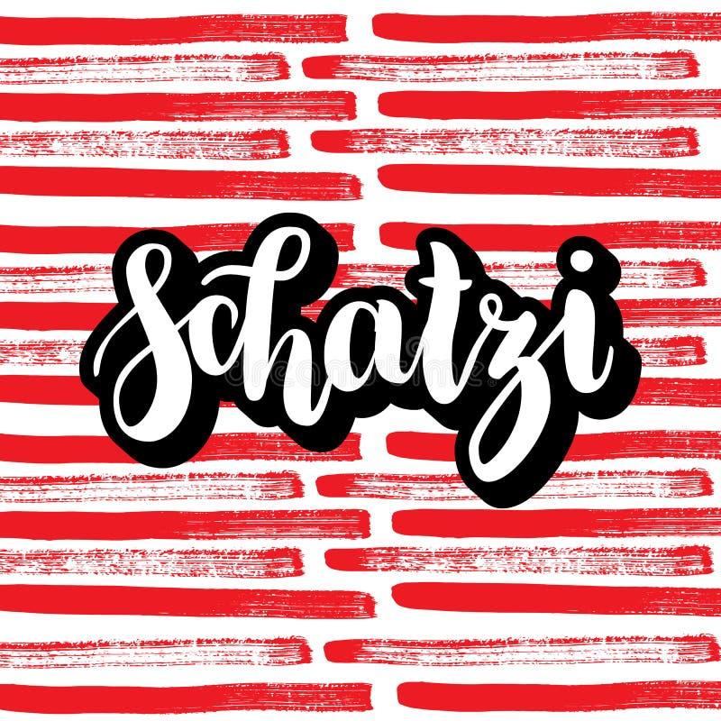 Schatzi -甜心用德语 愉快的情人节卡片,在五颜六色的抽象背景的手写的字法 皇族释放例证