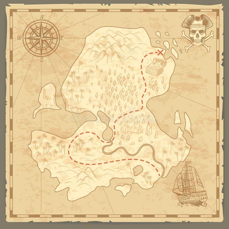 Schatzinselkarte Retro- Tapetenweinleseinseln zeichnen Seereisehintergrund mit Kompassschiffs-Piratenkonzept auf stock abbildung