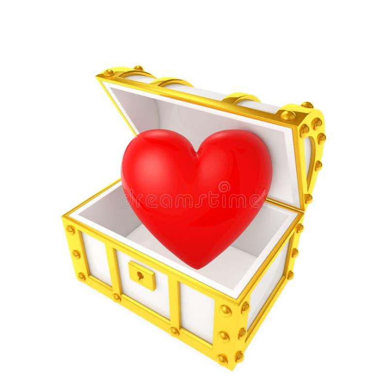 Schatztruhe, die das Herz enthält vektor abbildung