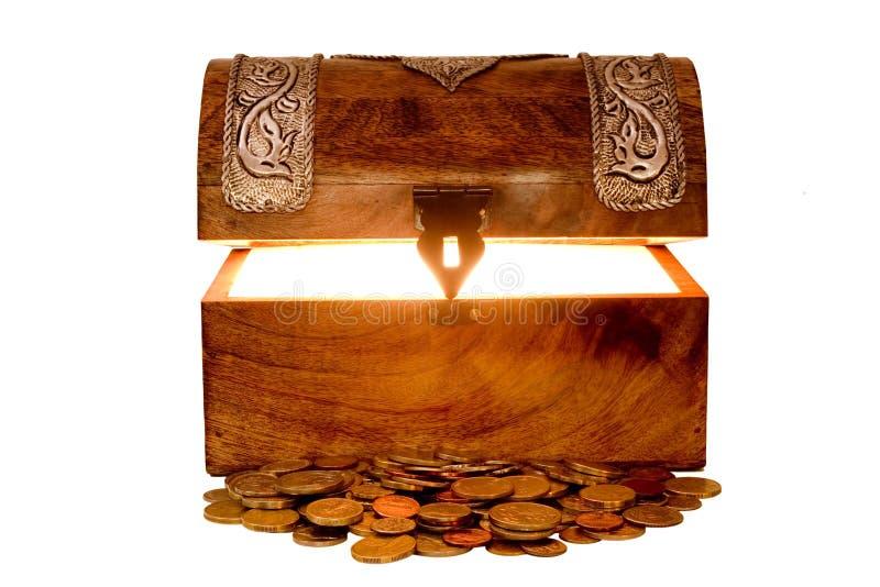 Schatztruhe und Geld stockfotos