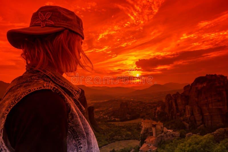 Schauen des Klosters Meteora lizenzfreie stockfotos