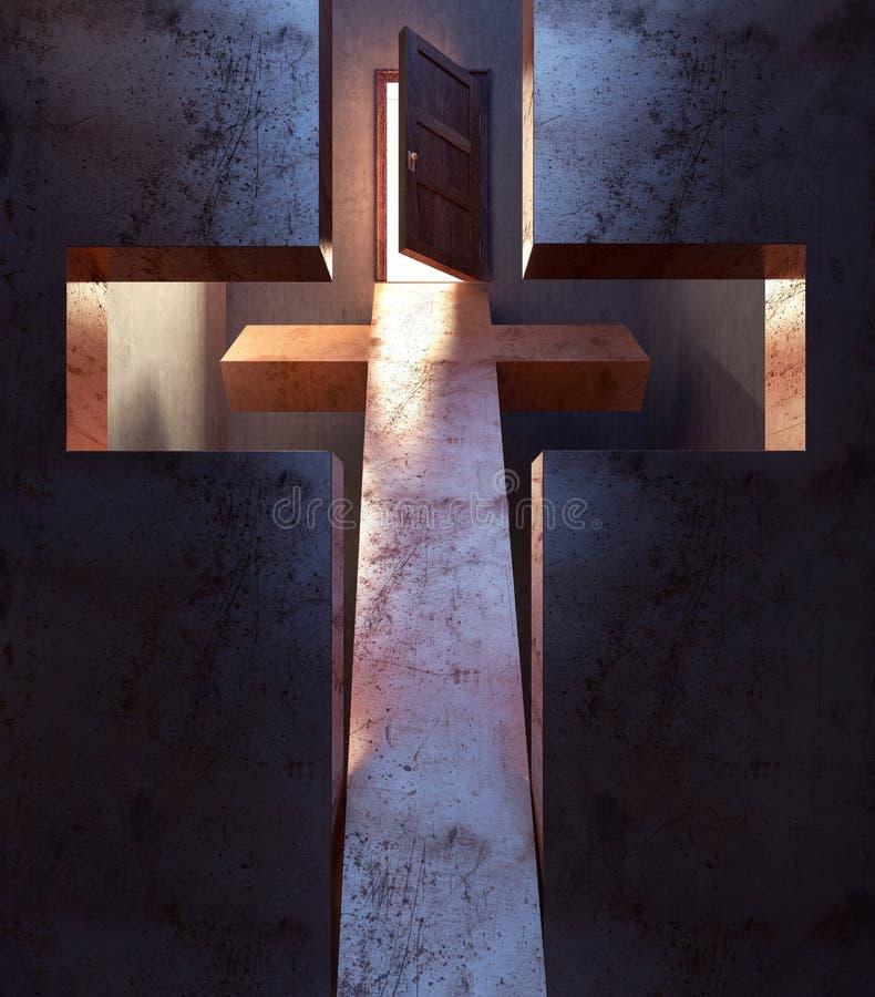 Schauen Sie durch das Kreuz auf der offenen Tür der Rettung vektor abbildung