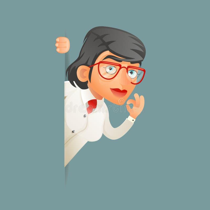 Schauen Sie heraus weibliche des Wissenschaftlergeniecharakters Professors sachverständige Karikaturdesign-Vektorillustration Eck vektor abbildung