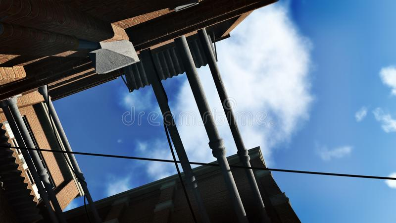 Schauen Sie oben vom Zugang zum hellen Himmel stockfoto