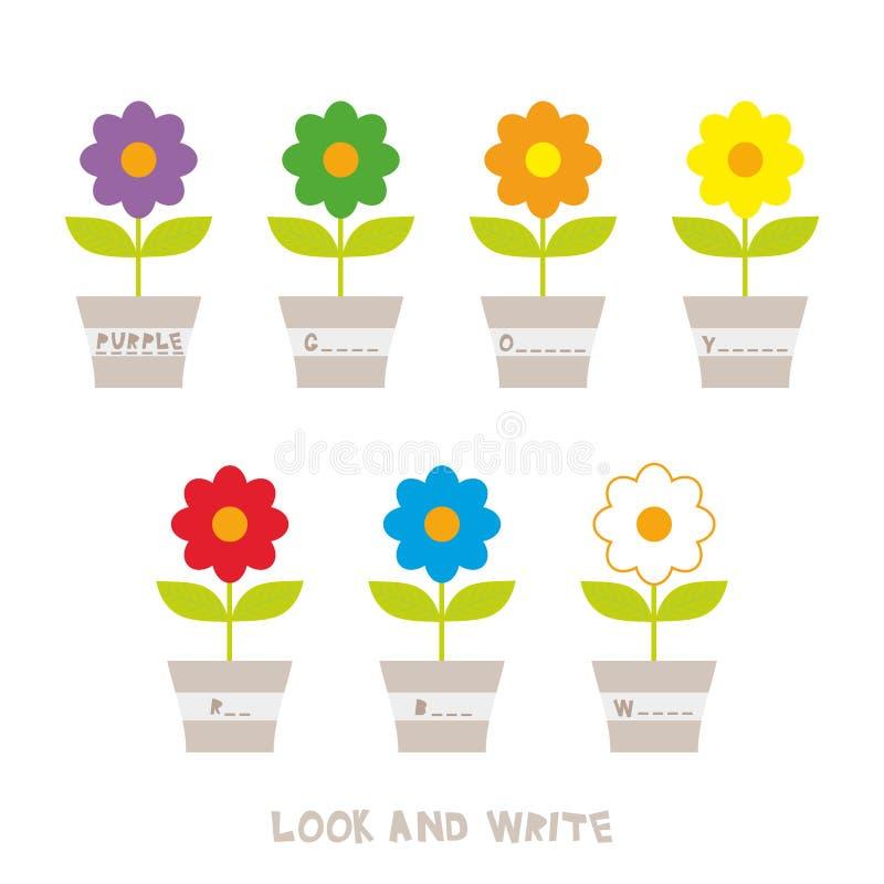 Schauen Sie und schreiben Sie Blumen in den Potenziometern Kinder fasst das Lernen des Spiels, Arbeitsblätter mit einfachen bunte lizenzfreie abbildung
