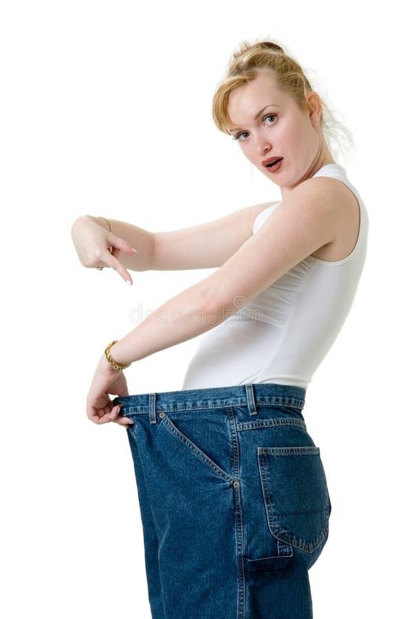 Schauen Sie, wie viel Gewicht ich verlor lizenzfreies stockbild