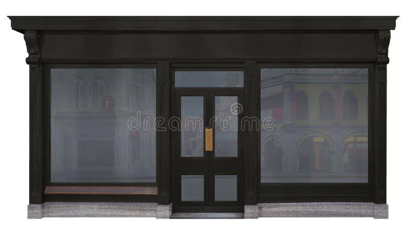 Schaufenster gestaltet mit schwarzem Holz und auf weißem Hintergrund herausgeschnitten stockfotografie