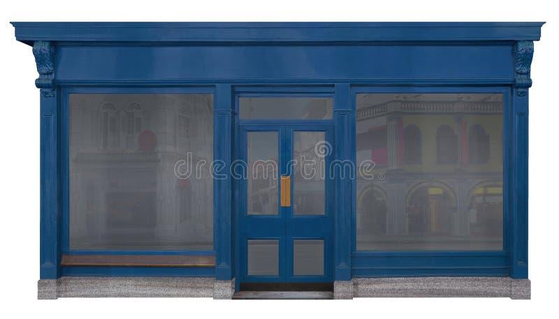 Schaufenster kleidete mit einer hölzernen Front an, die auf weißem Hintergrund lokalisiert wurde lizenzfreies stockfoto