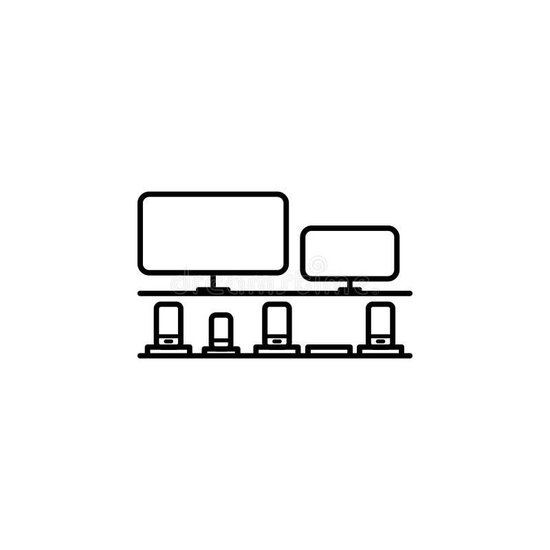 Schaukasten mit Haushaltsgerätentwurfsikone Element der Einkaufsikone für bewegliche Konzept und Netz apps Dünne Linie Schaukaste stock abbildung