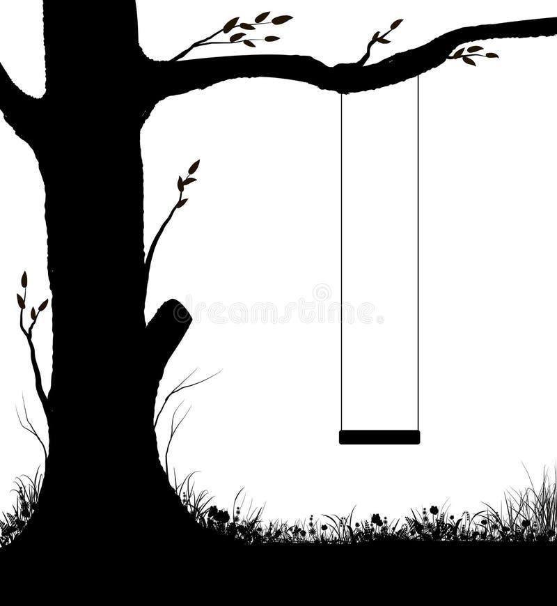 Schaukeln auf Baum, Kindheitserinnerungen im Sommertag, Kindererziehung, Schwarz-Weiß, lizenzfreie abbildung