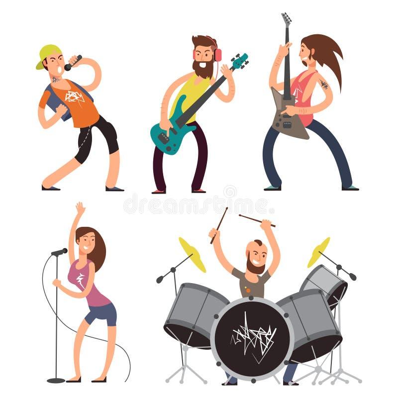 Schaukeln Sie die Musiker und Sänger, die auf weißem Hintergrund lokalisiert werden stock abbildung