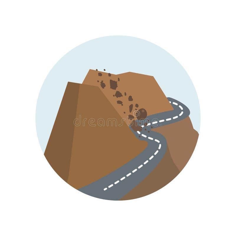 Schaukeln Sie Lawine, rockfall, Fall, Natur, Felsen, Unfall, Lawinenfarbikone Element der Illustration der globalen Erwärmung Zei stock abbildung