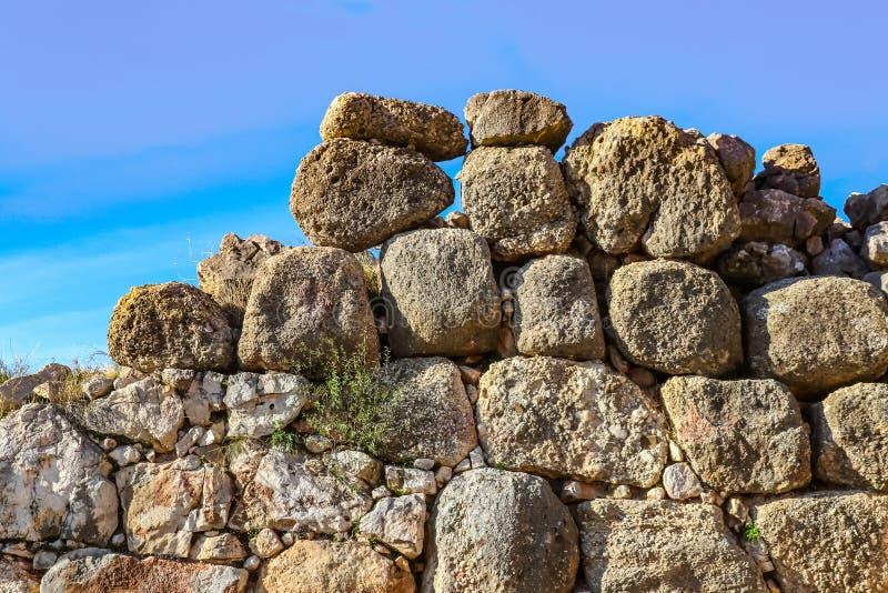Schaukeln Sie Wand an alter archäologischer Fundstätte Mycenae im Peloponnes, das Legende wurden errichtet durch Zyklope sagt stockbild