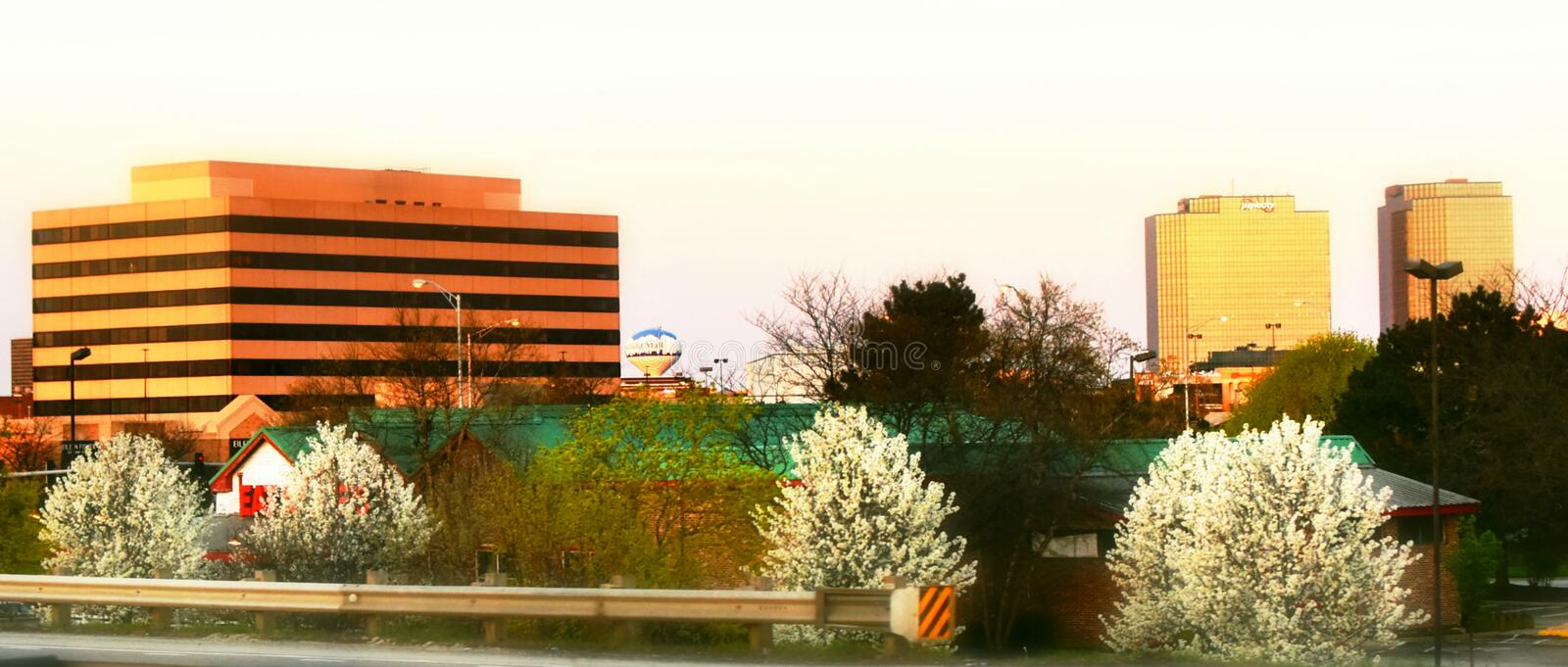 Schaumburg, Illinois. Cityscape in the spring with apple trees in blossom and the Woodfield Mall water tower in the background royalty free stock photo