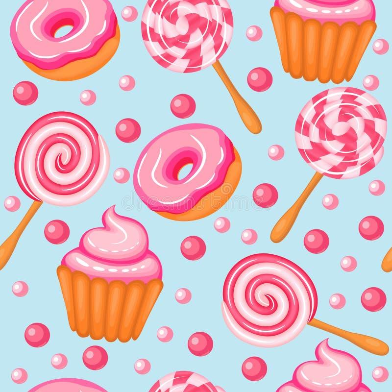 Schaumgummiring-Süßigkeitskleine kuchen des Hintergrundes nahtlose süße vektor abbildung