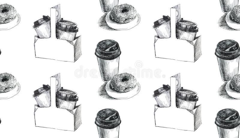 Schaumgummiringe und Kaffee Nahtloses Muster Gelschreiberhandgezogene Illustration stockbild