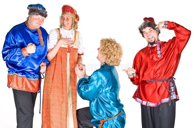 Schauspieler in den russischen Kostümen lizenzfreie stockbilder