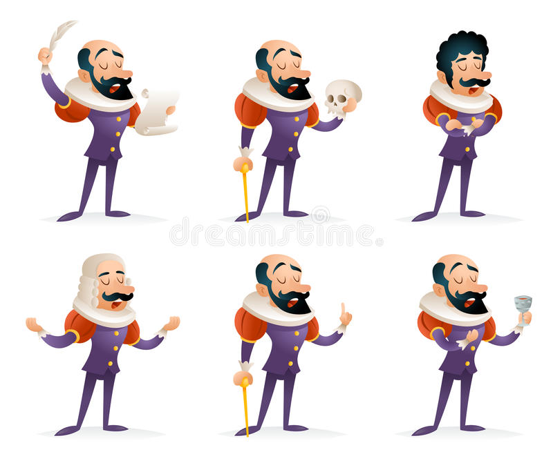 Schauspieler-Theater Stage Man-Charakter-mittelalterliche verschiedene Aktions-Ikonen eingestellte Karikatur-Design-Schablonen-Ve vektor abbildung