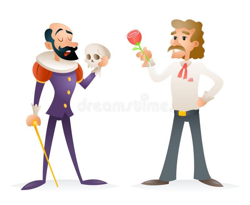 Schauspieler-Theater Stage Man-Charaktere mittelalterlich und moderne Ikonen-Karikatur-Design-Schablonen-Vektor-Illustration stock abbildung