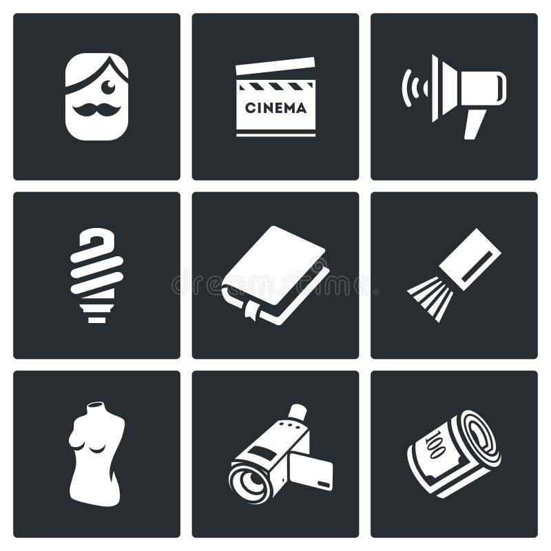 Schauspieler- und Filmindustrieikonen eingestellt Auch im corel abgehobenen Betrag vektor abbildung