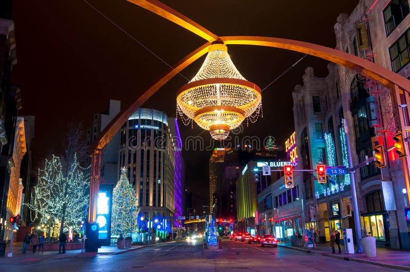 Schauspielhaus-quadratisches Weihnachten stockbild