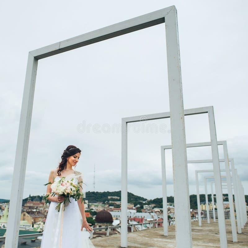 Schaut erstaunliches Grün gemusterte Braut über ihrem Schleier, der in den Strahlen aufwirft stockfotografie