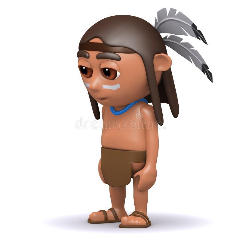 schaut gebürtiger Indianer 3d traurig stock abbildung