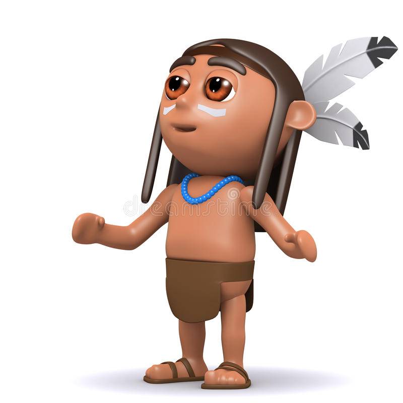schaut gebürtiger Indianer 3d zum Himmel vektor abbildung