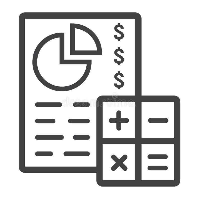 Schavend begrotingslijn pictogram, zaken en financiën royalty-vrije illustratie