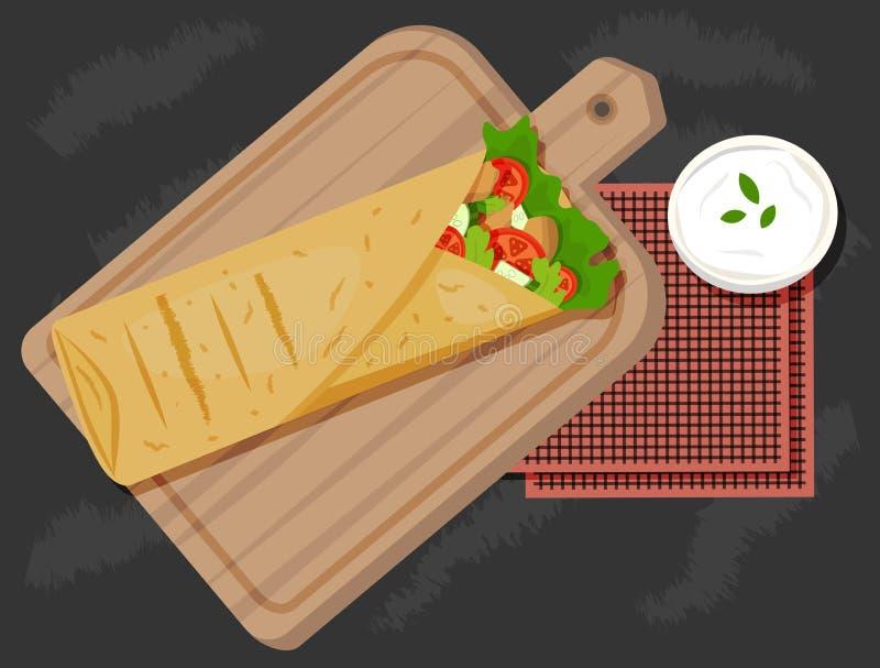 Schaverma op een houten raad met saus en servetten hoogste mening Vector illustratie Het snelle voedselvector van de Shawarmakeba stock foto's