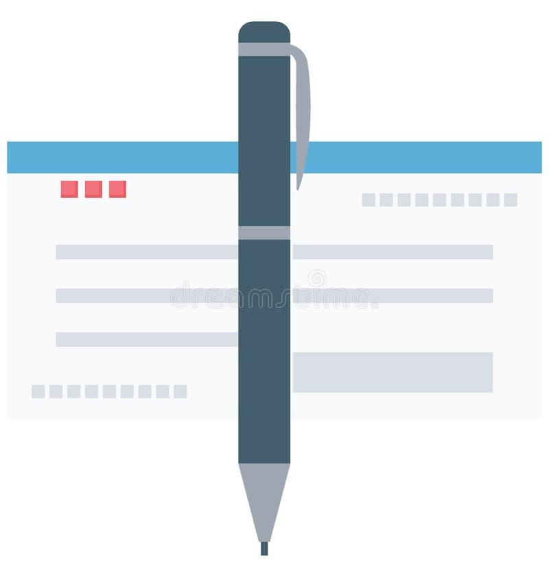 Scheck-Farbe lokalisierte Vektor-Ikone, die leicht geändert werden oder redigieren kann vektor abbildung