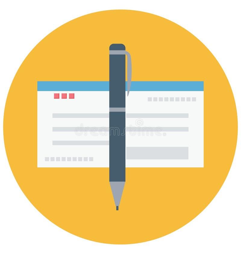 Scheck-Farbe lokalisierte Vektor-Ikone, die leicht geändert werden oder Scheck-Farbe lokalisierte Vektor-Ikone redigieren kann, d stock abbildung