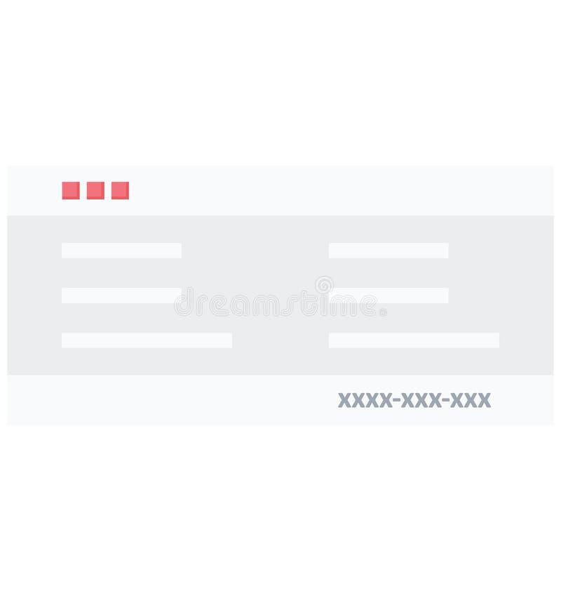 Scheck-Farbikone lokalisierte und Vektor, der leicht geändert werden oder redigieren kann stock abbildung