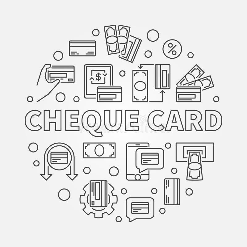 Scheck-Kartenvektorkonzept ringsum einfache Entwurfsillustration lizenzfreie abbildung