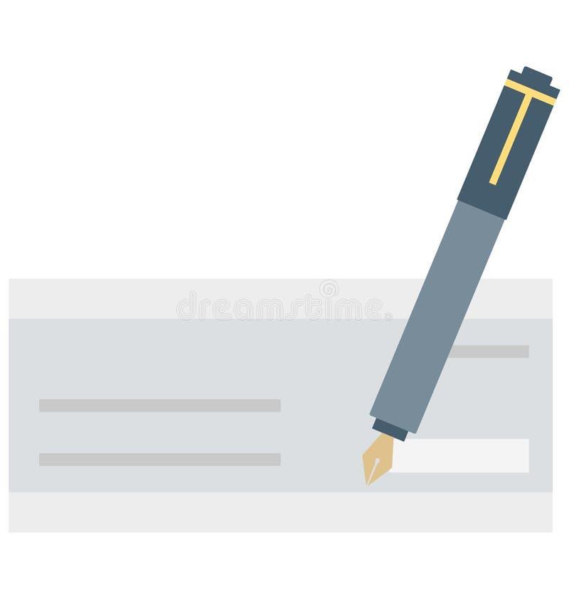 Scheck-lokalisierte unterzeichnende Farbe lokalisierte Vektor-Ikone, die Scheck-unterzeichnende Farbe leicht ändern oder redigier vektor abbildung