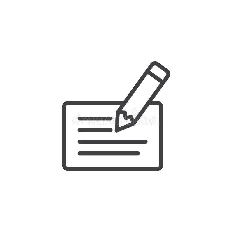 Scheck- und Stiftentwurfsikone vektor abbildung
