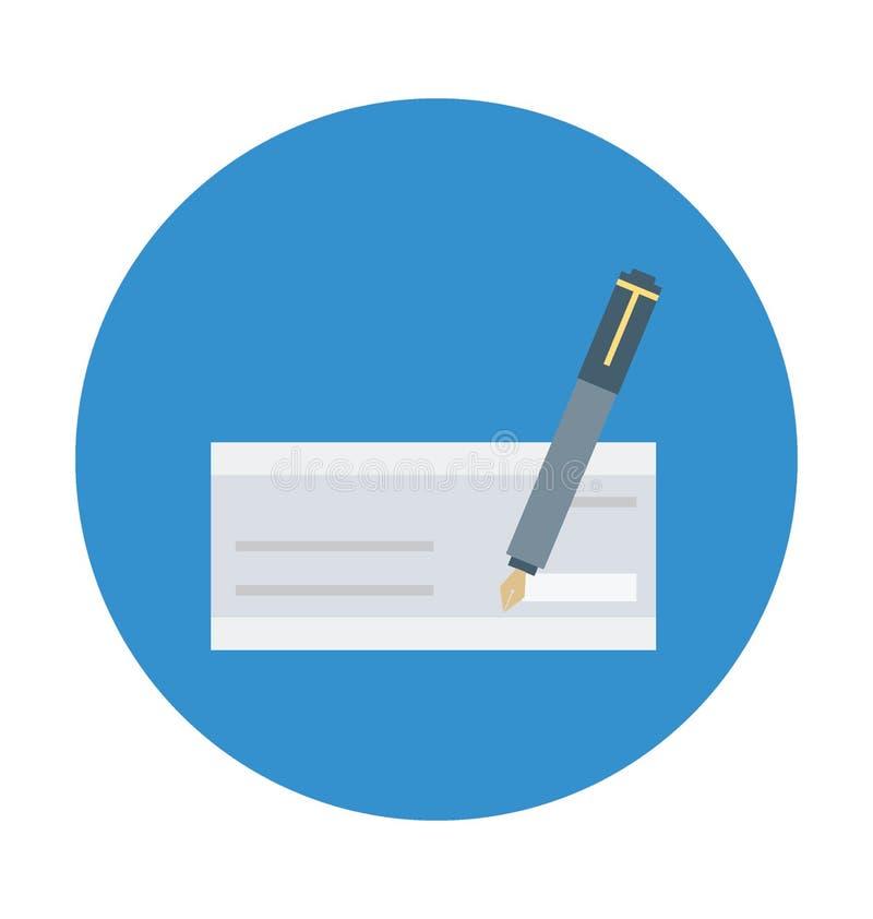 Scheck-unterzeichnende Farbe lokalisierte Vektor-Ikone, die leicht ändern oder redigieren kann stock abbildung