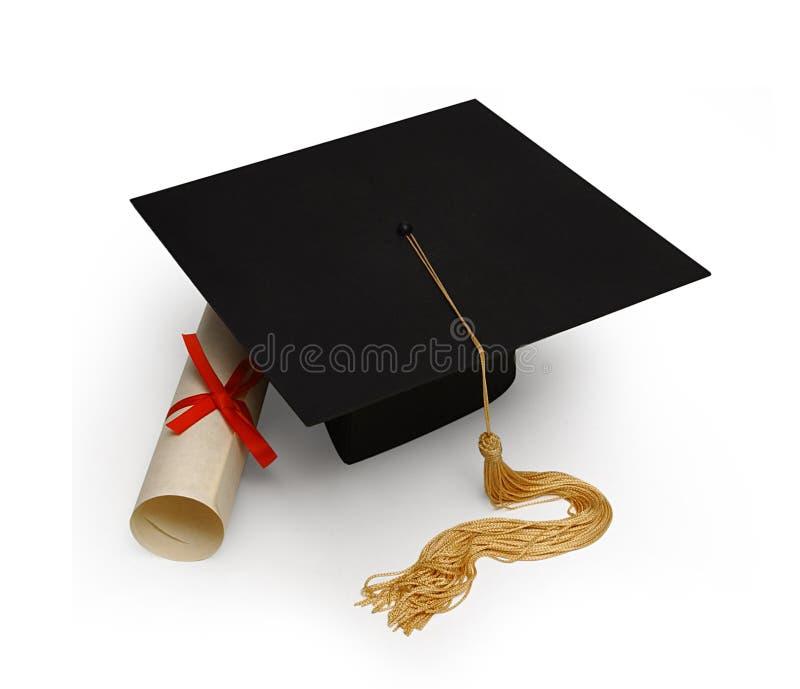 Scheda & diploma del mortaio su bianco fotografia stock
