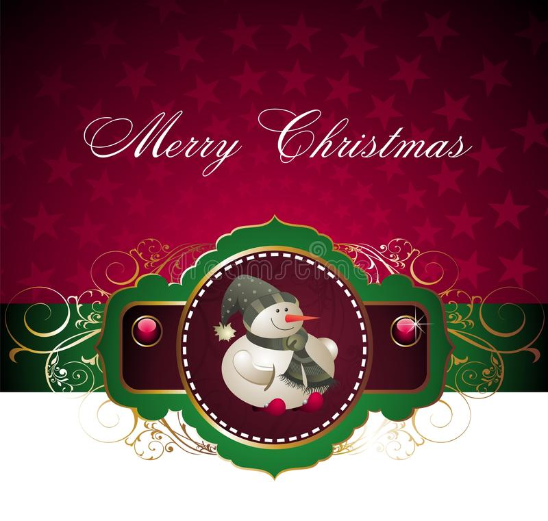 Scheda anno di nuovo e di natale con il pupazzo di neve royalty illustrazione gratis