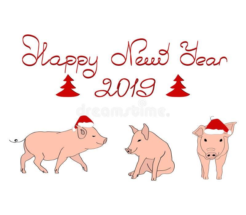 Scheda anno di nuovo e di natale Maiale tre in cappelli di Natale Iscrizione dell'buon anno Vettore royalty illustrazione gratis