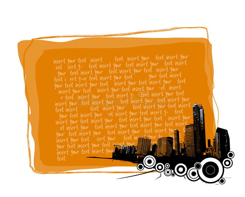 Scheda arancione con la città. illustrazione vettoriale